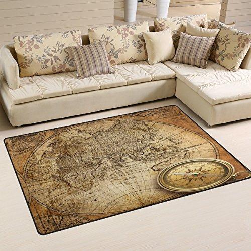 Use7Vieux Carte du Monde Boussole Zone Tapis Tapis antidérapant Tapis de Sol Paillasson Salon Chambre à Coucher 100x 150cm (3