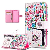 Sony Xperia XA Ultra Case,Sony Xperia XA Ultra Cover,3D Colorful Painted Butterfly Flip Folio Wallet Case PU Leather Stand Protective Case Cover for Sony Xperia XA Ultra,Pink Flower Tree Birds