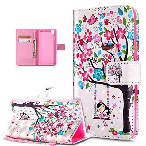 Coque Sony Xperia XA Ultra,Etui Sony Xperia XA Ultra,Modèle papillon peint en 3D coloré Housse Cuir PU Housse Etui Coque Portefeuille supporter Flip Case Etui Housse Coque,Oiseaux d'arbre fleur rose
