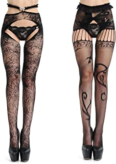 34a743610 OULESIS Womens Fishnet Tights Suspender Pantyhose Thigh-High Stockings  Garter Belt Black set 2 Pair