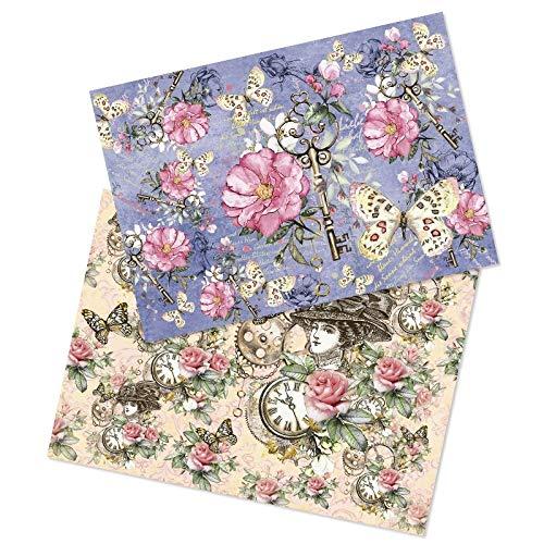 Ideen mit Herz 2 Bogen Reispapier | Edel-Decoupage-Papier | DIN A4 | 2 Verschiedene Designs | Vintage, Weihnachten und andere (Nostalgie Blüten 01)