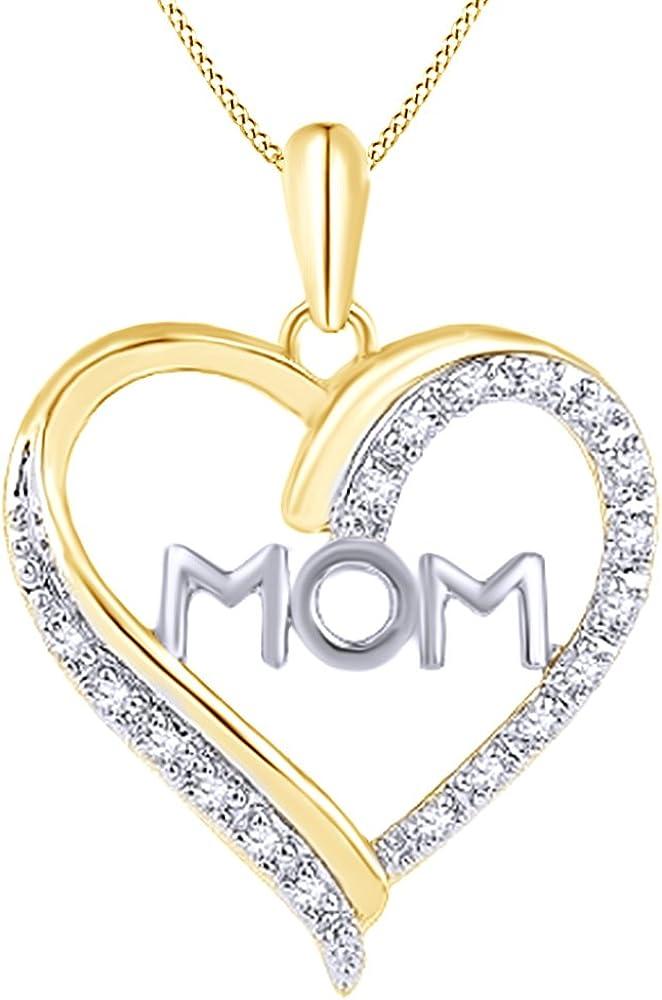 1//10 CT Round Real Diamond Mom Heart Pendant Necklace 10K White Gold Twotone