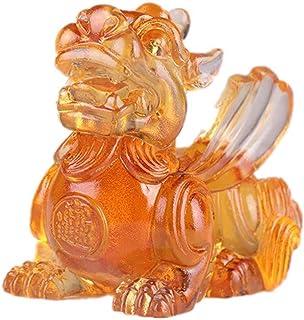 有色Gla薬Pixiu Piヤオ像図ホームオフィス装飾シンボル富(カラフル),B