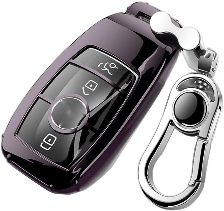 K LAKEY Car Key Fob Cover,Fit for Mercedes Benz C E S M CLS CLK G Class Key Fob,Smart Car Key Soft TPU Case Protector Key Fob with Alloy Keychain Silver Silver, B