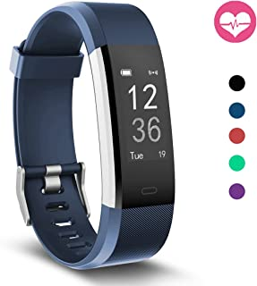 Fitness Tracker, MoreFit Slim HR Plus Heart Rate Smart Bracelet Pedometer Wearable Waterproof Activity Tracker Watch, Silver/Blue