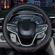 SHIAWASENA Auto Car Steering Wheel Cover, Universal 15 Inch Fit, Microfiber Leather, Non-Slip, Breathable (Black)