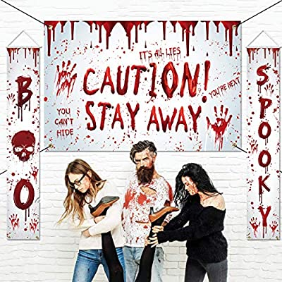 Chokeberry Halloween Decorations Outdoor - Boo Spooky & Caution! Stay Away, Creepy Halloween Decor Banners, Bloody Hanging Banners for indoor Home Front Door Wall,600D Fabric Party Decoration,Set of 3