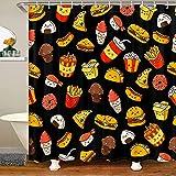 Cortina de ducha para hamburguesas, patatas fritas, cortina de baño para niños, postre y baño, juego de 12 ganchos, resistente al agua, bañeras deliciosas de 72 x 94 pulgadas