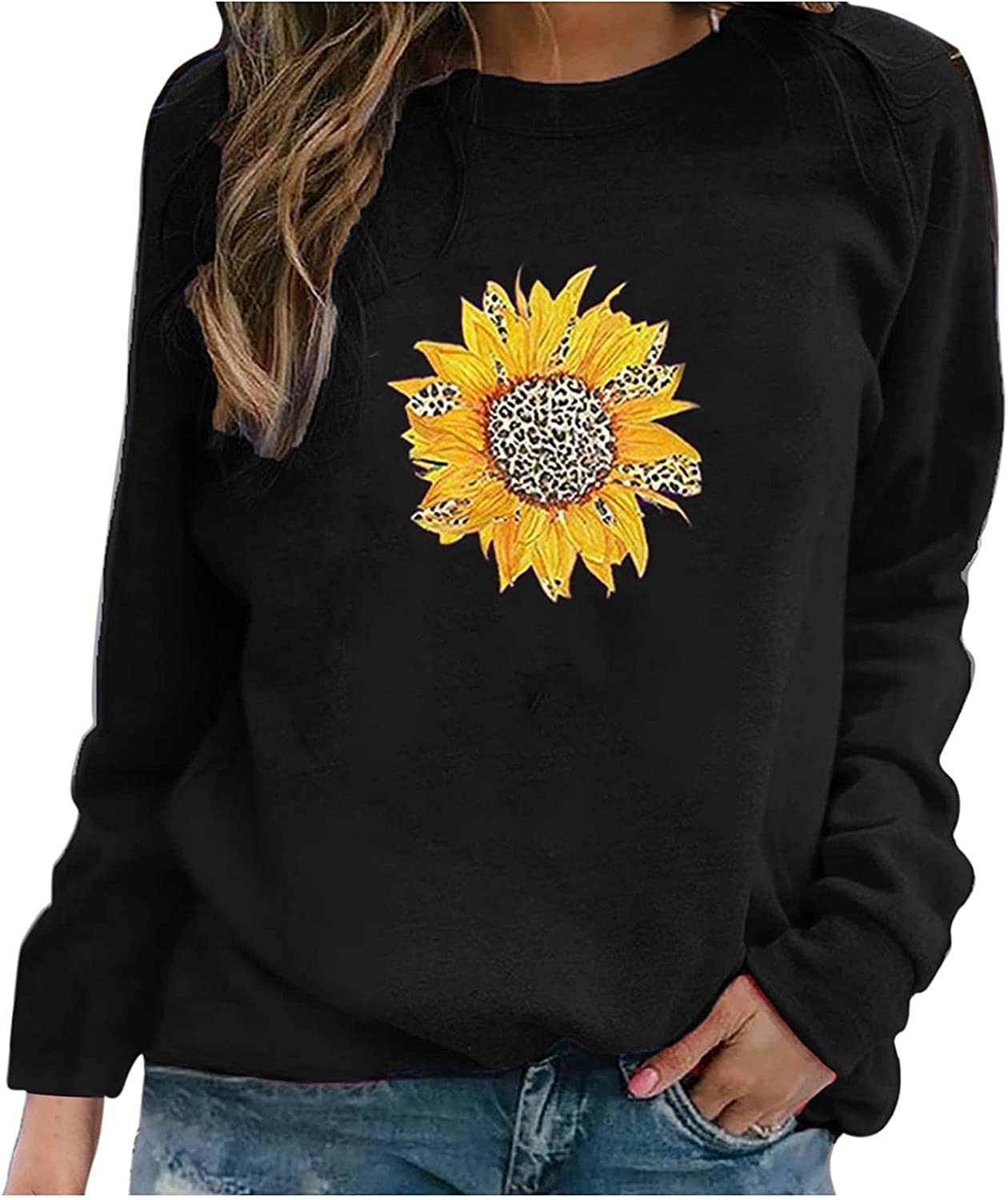 Hotkey Sweatshirts for Women Round Neck Long Sleeve Tops Leopard Sunflower Print Pullover Sweatshirt Casual Loose Top Blouses