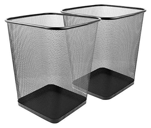 6 Gallon 2 Pack Mesh Wastebasket in Black