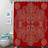 Guftay Paisley Duschvorhang, rotes Blumenmuster, Duschvorhang, wasserdichter Stoff für Badezimmer Dekor Duschvorhänge Set mit Haken, 182,9 x 182,9 cm