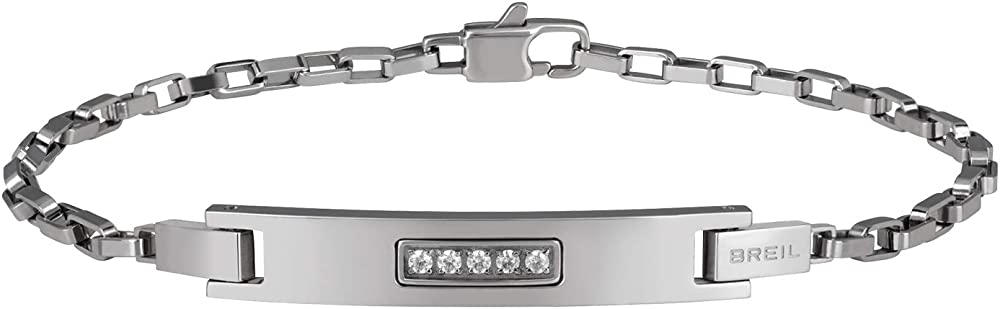 Breil, bracciale da uomo in acciaio,con elemento centrale impreziosito da cinque cristalli TJ2832
