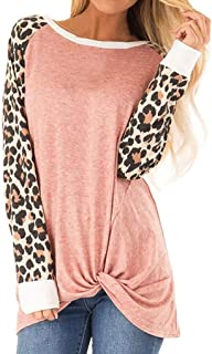 Loosebee◕‿◕ Women Casual O-Neck Leopard Patchwork T-Shirt Knits & Tees