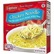 Lipton Soup Secrets Instant Soup Mix, Chicken Noodle 4.2 oz (Pack of 12, 2 Pouches Each)
