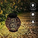 Lanterne Solaire Lumière Extérieure, LED Jardin Lampe Suspendue étanche Patio Décoratif Lanterne Suspendue pour Patio Extérieur à Lintérieur de la Pelouse (Noire)