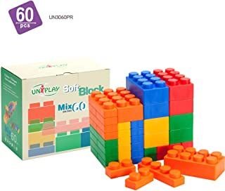 UNiPLAY Mix Series Jumbo Soft Building Blocks - Non-Toxic & BPA-Free - 60-Piece Multi-Color Set