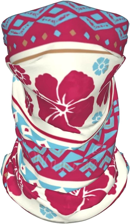 Tribal Hawaiian Ethnic Print2 Neck Gaiter Multipurpose Headwear Ice Silk Mask Scarf Summer Cool Breathable Outdoor Sport 4 Pcs