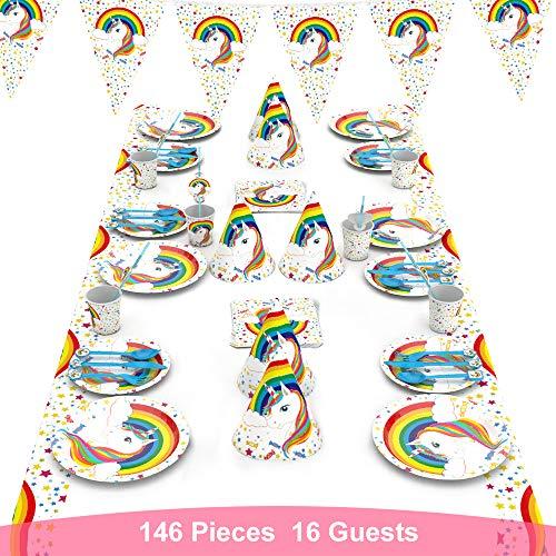decalmile 146 Piezas Vajilla Diseño de Unicornio para 16 Infantiles Decoración de Fiesta de Cumpleaños (Platos, Tenedores Cucharas Cuchillos, Vasos, Pajitas, Servilletas, Gorros, Bandera, Mantel)