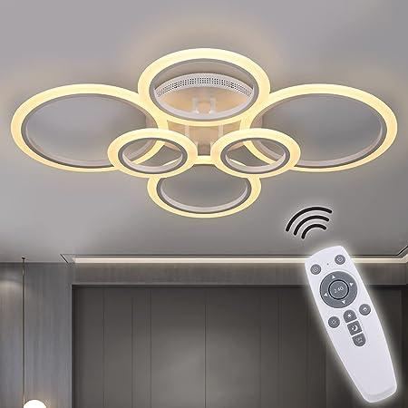 RUYI plafonnier LED moderne dimmable télécommande 6 anneaux plafonnier 72W 6400LM, plafonnier pour salon, chambre, cuisine, couloir, balcon, salle à manger, blanc, 2800-7000K