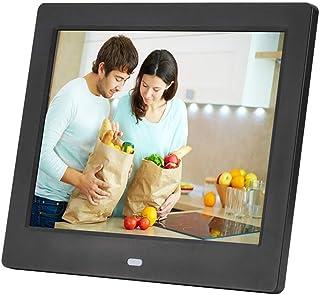FEE-ZC Digital Photo Frame 8 Inch MP4 Video Input Digital Photo Frame with Memory LED Smart Slideshow E-Albums MP3/MP4 Vid...