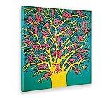 Giallobus - Bild - Druck AUF LEINWAND - Keith Haring - DER Baum DER AFFEN - POP Art - 50 x 50 cm