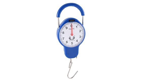 uxcell Plastic Portable Handled Hanging Hook Scale Weight Measure Tool Spring Balance 10kg Blue