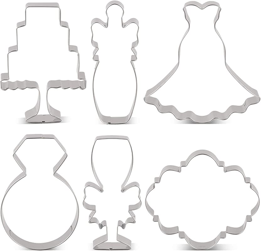 LILIAO Wedding Cookie Cutter Set For Anniversary Bridal Engagement 6 Piece Diamond Ring Wedding Dress Cake Plaque Champagne With Ribbon And Champagne Glass With Ribbon Stainless Steel