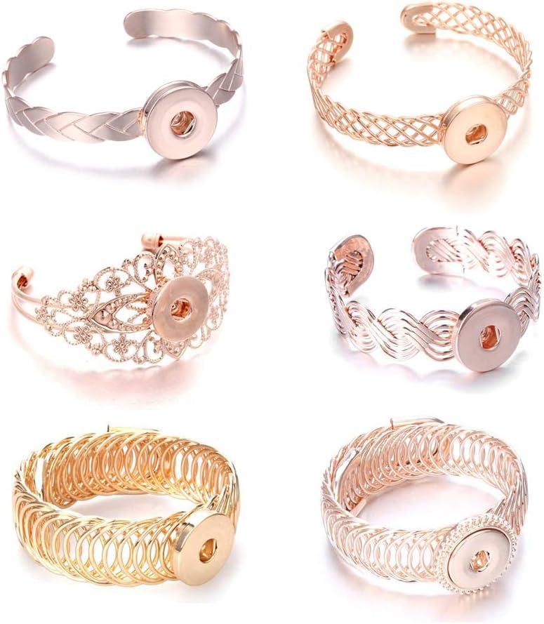 Lovglisten New 6pcs Snap Jewelry Bangle Hollow Fashion 18-20mm Adjustable Snap Jewelry Bracelets Charms (3)