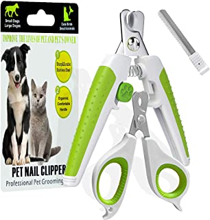 JSXD Dog Nail Clippers,Pet Nail Clippers for Dog or Cat with Safety Guard to Avoid Over-Cutting,Free Nail File and Lock Switch,Dog Toe Nail Clippers with Non Slip Handles for Small,Large Breed