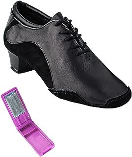 Very Fine Ballroom Salsa Practice Dance Shoes for Women SERA703BBX 1.5-Inch Heel + Foldable Brush Bundle
