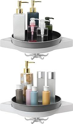 Homdiy 浴室 ラック 錆びない 強力粘着式 水切り 2個セット 石鹸置き お風呂 シャンプーラック シャワーラック 調味料ラック 小物整理 グレー