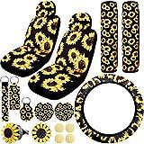 BQTQ 16 Pcs Sunflower Car Accessories with 2 Pcs Car Front Seat Covers 1 Pc Steering Wheel Cover 2 Pcs Seat Belt 2 Pcs Coaster 2 Pcs Keyrings 1 Pc Lanyard 2 Pcs Vent Decor 2 Pack Fragrance Cotton Pad