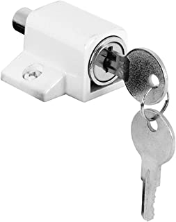 Prime-Line U 9862 Sliding Door Keyed Lock, Push-in – Replace Broken Parts and Add Additional Home Security, Painted Diecast Case, White Finish