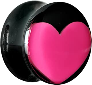 Body Candy Black Acrylic Hot Pink Heart Saddle Ear Gauge Plug (1 Piece) 5/8""