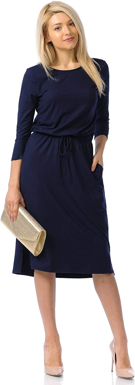 iconic luxe Women's Relaxed 5 popular Midi Dress with Elastic Waist San Antonio Mall