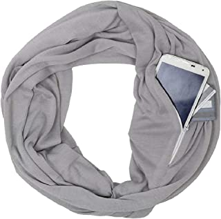 RkYAO Women's Zipper Pocket Solid Color Fashion Soft Infinity Loop Scarf