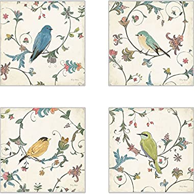 CoasterStone AS10077 Bird's Gem Absorbent Coasters, 4-1/4-Inch, Set of 4