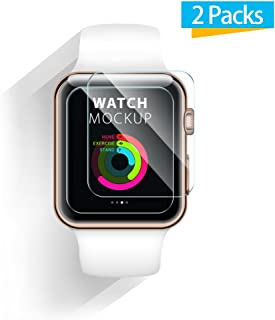 iXCC 38mm Apple Watch Screen Protector 0.3mm [2 Pack] Tempered Glass Screen Protector, Anti-Bubbles, Scratch Resistant [Only Covers The Flat Area]