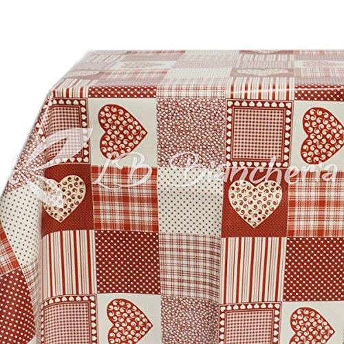 R.P. Tafelkleed van PVC-kunststof, vuilafstotend – 120 x 240 cm – hart bordeaux