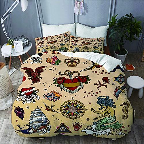 YOLIKA Bettwäsche-Set,Tattoo Schädel Meerjungfrau Boot Messer Seevogel Pferd Auto Krawatte,Mikrofaser Bettbezüge Set mit Reißverschluss,und Kopfkissenbezüge,240x260