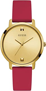Comfortable Gold-Tone + Red Stain Resistant Silicone Watch with Genuine Diamond Accents. Color: Red (Model: U1210L2)
