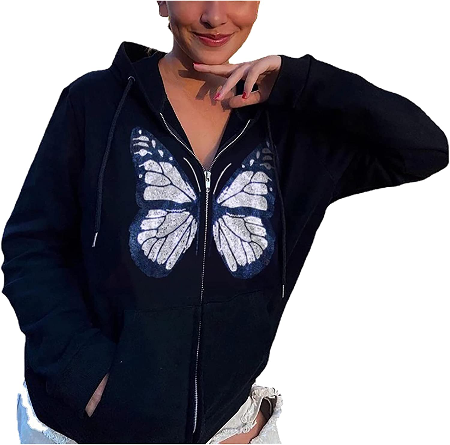 Kanzd Women Y2K Tops Hoodie for Women Gothic Fashion Zip Up Butterfly Graphic Casual Loose Fit E Girl Oversized Hooded Coat