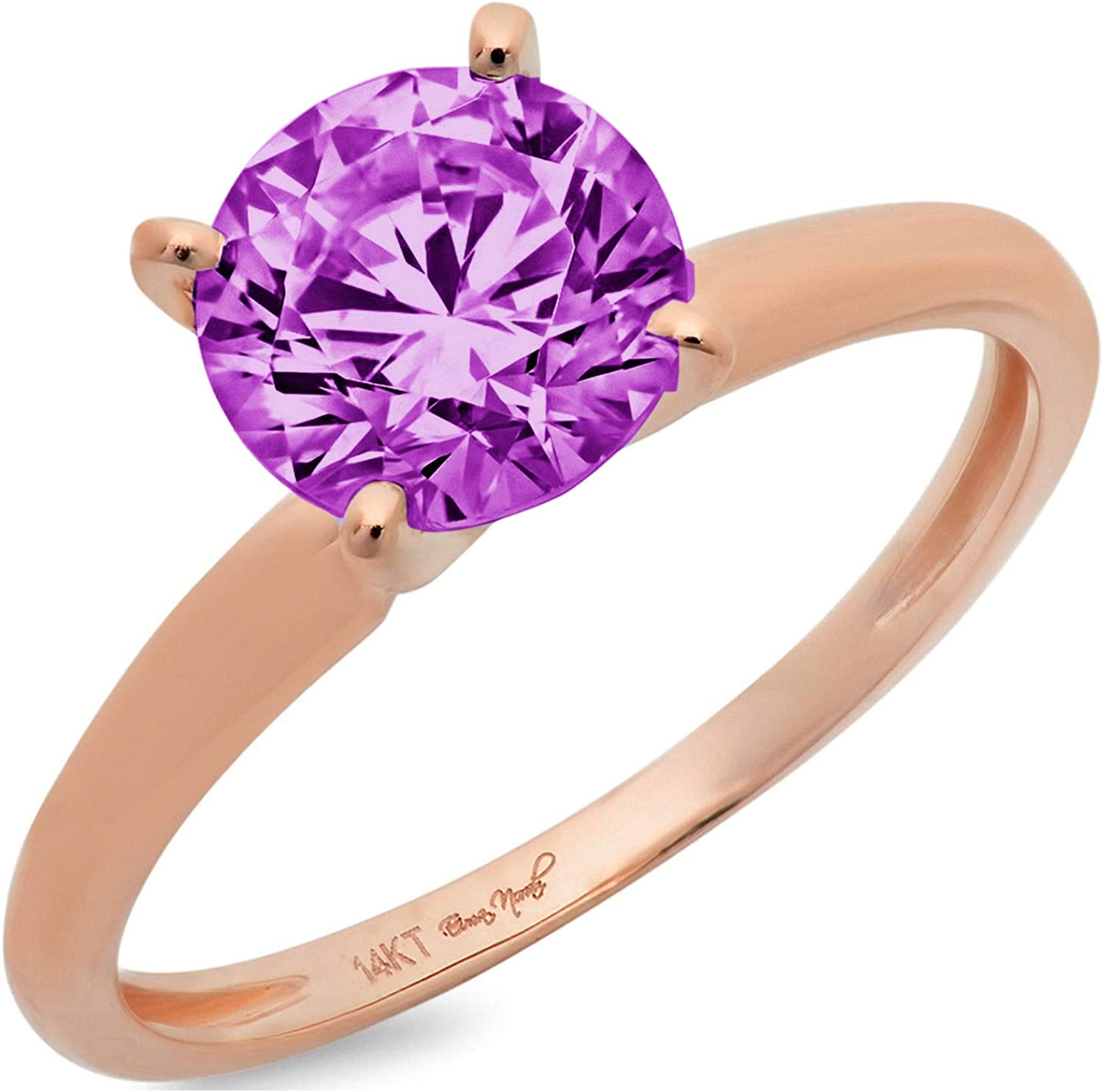 2.95 ct Brilliant Round Cut Solitaire Flawless Simulated CZ Purple Alexandrite Ideal VVS1 4-Prong Engagement Wedding Bridal Promise Anniversary Designer Ring in Solid 14k Rose Gold for Women