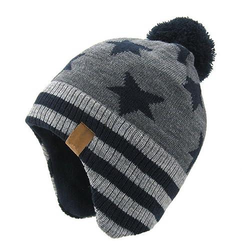 c3180b2278a Moon Kitty Baby Boys Girls Knit Hats Winter Fleece Skiing Winter Caps with  Warm Ear Flap