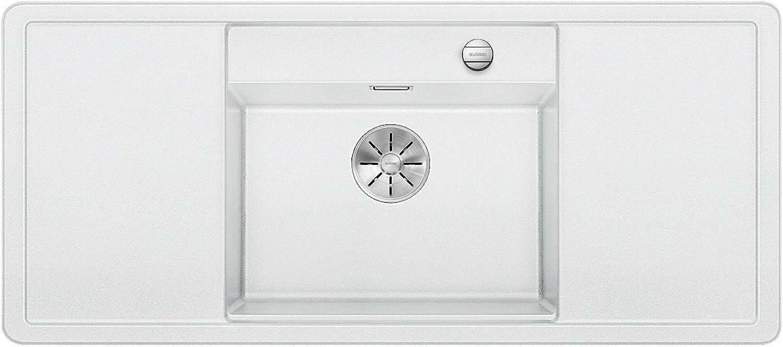 Weiß Alaros 6 S, Küchenspüle aus Silgranit PuraDur, Becken mittig, Wei   mit zwei Schneidbrettern aus weiem Sicherheitsglas und Ablauffernbedienung; 523627