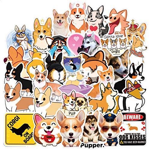 TUHAO Cute Cartoon Corgi Puppy Animal Graffiti Toy Waterproof Suitcase Mobile Phone Skateboard Sticker Wholesale /50Pcs