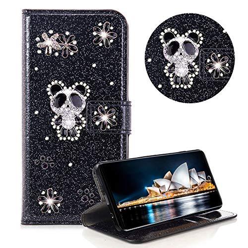 Glitzer Strass Brieftasche für Galaxy Note 10,Schwarz Leder Handyhülle für Galaxy Note 10,Moiky Luxus 3D Magnetisch Kristall Niedlich Panda Blumen Diamant Hülle mit Kartenfächer Ständer