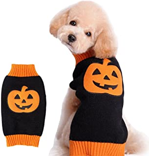 Cuteboom Dog Pumpkin Sweater Pet Halloween Costume Holiday Party Small to Large Dogs Jumpers for Cat and Puppy(Pumpkin,L)