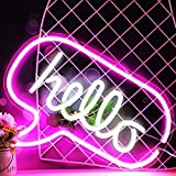 Hello LED Neon Light Sign 17 x 12.2 Inches Wall Art Decorative, White Pink Hello Word Bubble Wall Hanging Sign, Neon Night Light USB Powered for Bar Bedroom Living Room Kid's Room Party, Home Decor