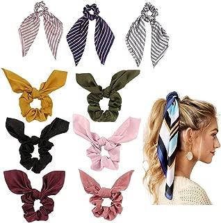 9 Pack Hair Elastics Bunny Ear Scrunchies Chiffon Hair Scrunchies Hair Bow Chiffon Ponytail Holder Bobbles Soft Elegant Elastic Hair Bands Hair Ties Accessories